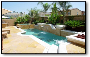 Custom Pool with Water Cascades